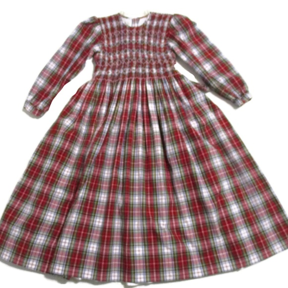 754ab00b1c56 Strasburg Girl's Red Green Smocked Christmas Dress.  M_5baa71ce04e33d98726a1d25